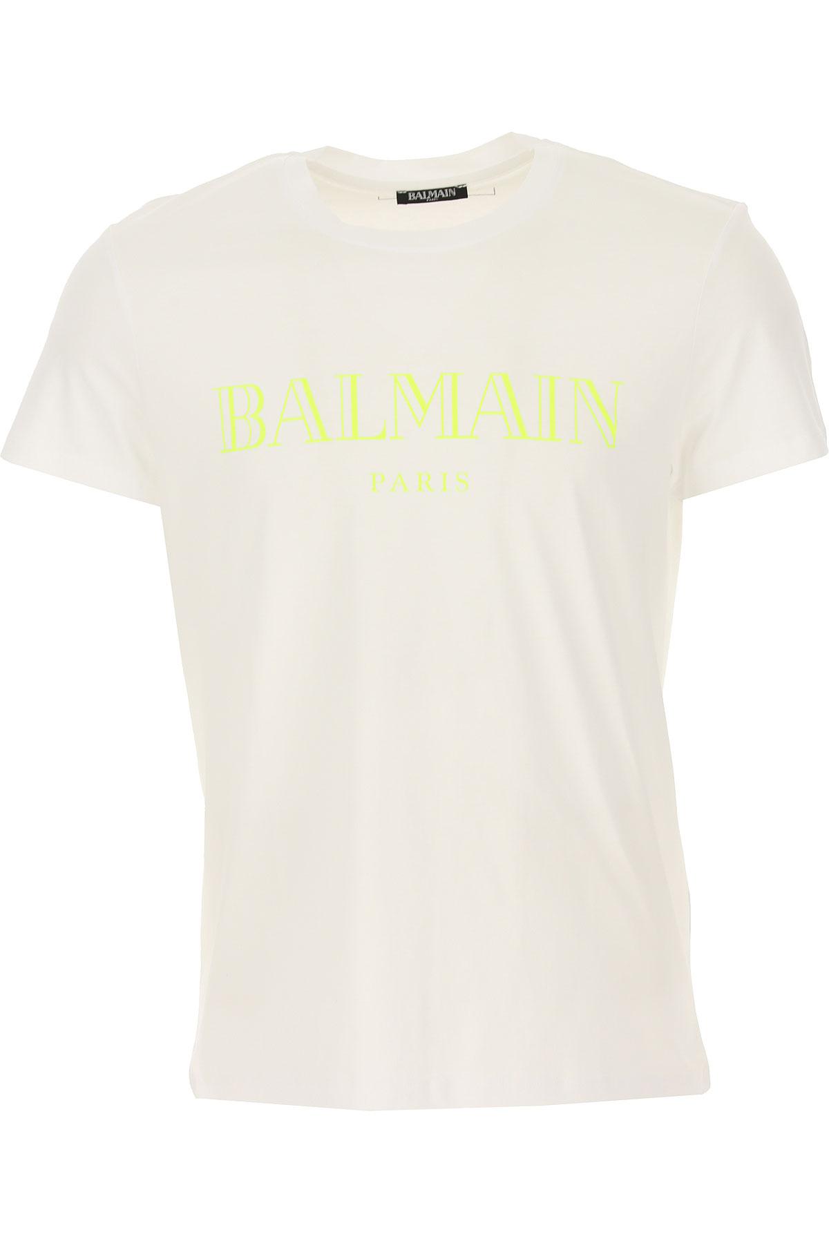 Balmain T-Shirt for Men, White, Cotton, 2017, L M S XL