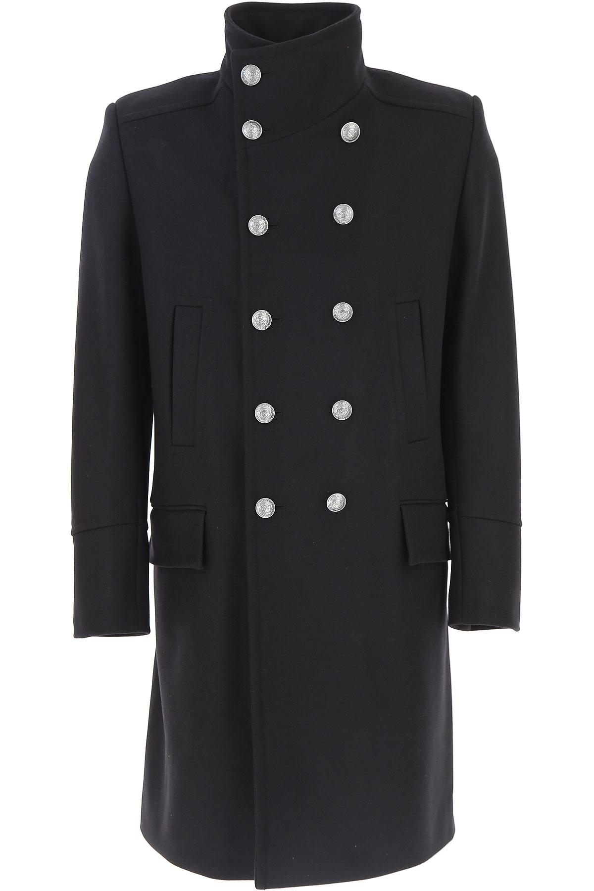 Image of Balmain Men\'s Coat, Black, Wool, 2017, L XL XXL