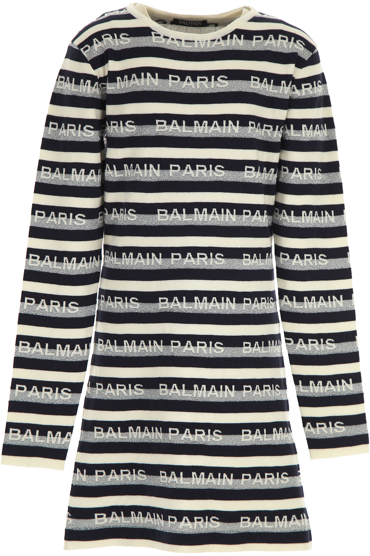 Balmain Girls Dress On Sale, White, Cotton, 2019, 14Y 16Y