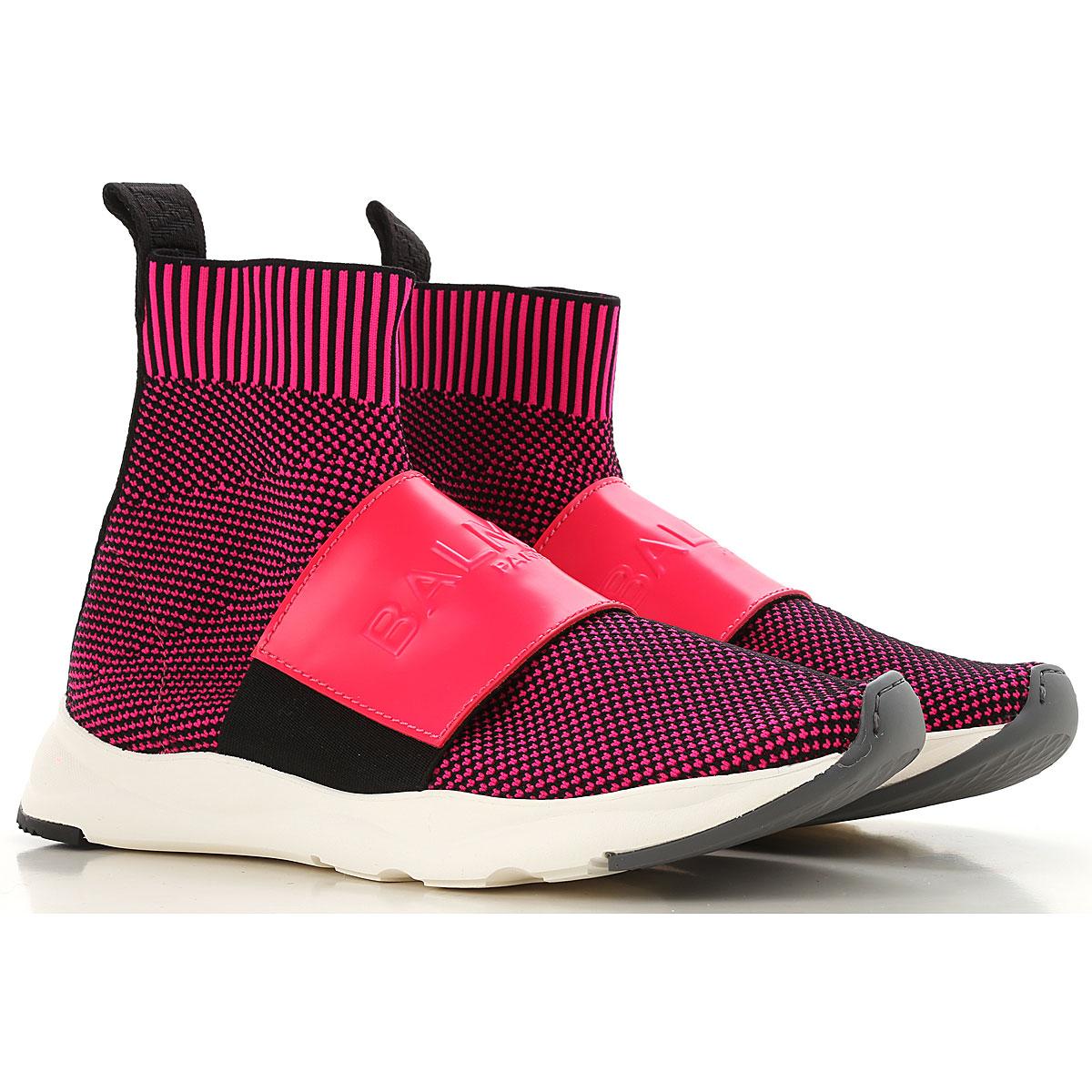 Image of Balmain Slip on Sneakers for Women, Black, Knitted, 2017, 6 7 8 9