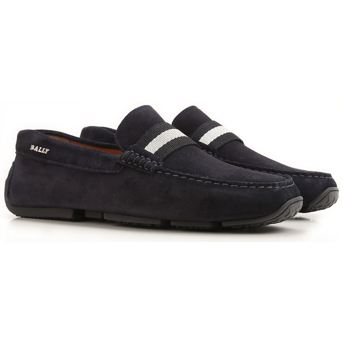Image of Bally Driver Loafer Shoes for Men On Sale, Midnight Blue, Suede leather, 2017, UK 6 • EU 40 • US 7 UK 6.5 • EU 40.5 • US 7.5