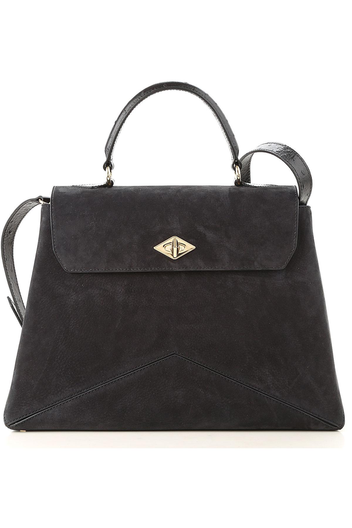 Image of Ballantyne Top Handle Handbag, Blue Navy Melange, suede, 2017