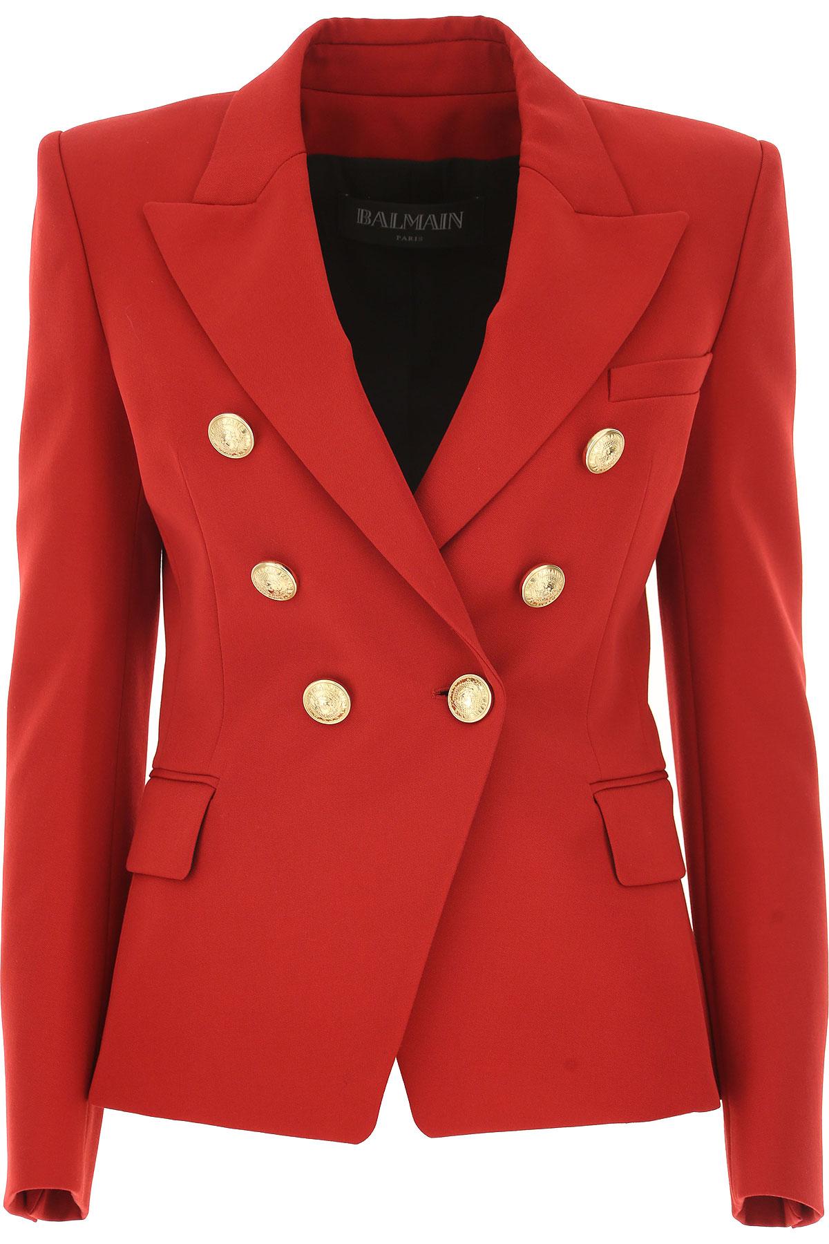 Image of Balmain Blazer for Women, Red, Wool, 2017, 2