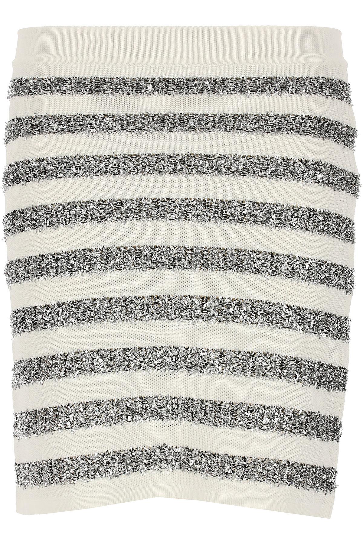Image of Balmain Skirt for Women, White, viscosa, 2017, 4 6 8