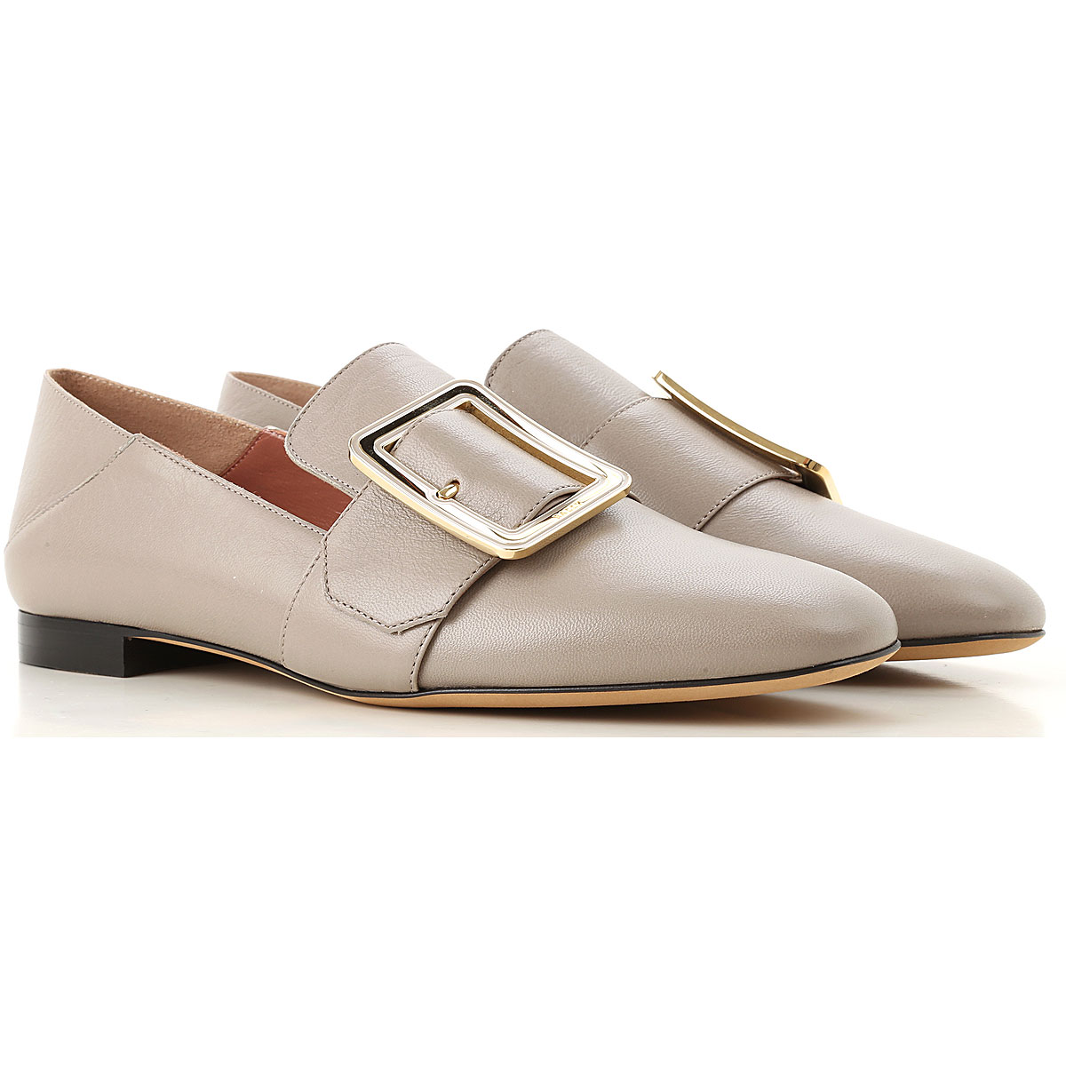 Image of Bally Loafers for Women, Grey, Leather, 2017, 8.5