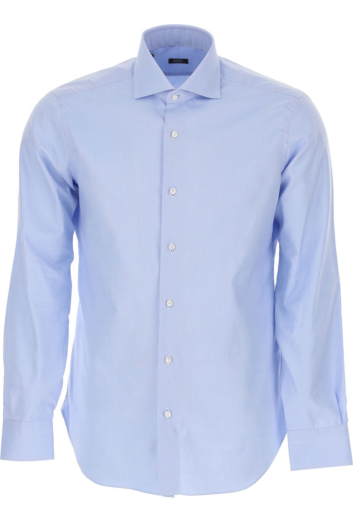 Barba Shirt for Men On Sale, Sky Blue, Cotton, 2019, 15.75 16.5