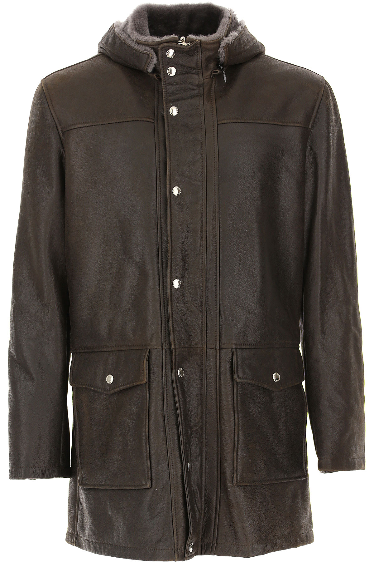 Barba Leather Jacket for Men On Sale, Brown, Leather, 2019, L M