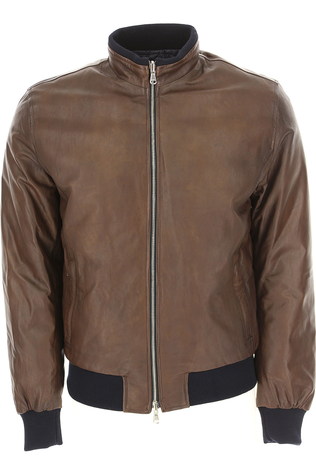 Barba Leather Jacket for Men On Sale, Dark Brown, Leather, 2019, M XL