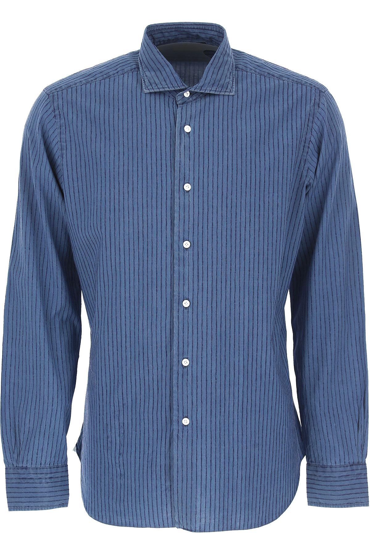 Barba Shirt for Men On Sale in Outlet, Dandy Life, Blue Denim, Cotton, 2019, 17 17.5