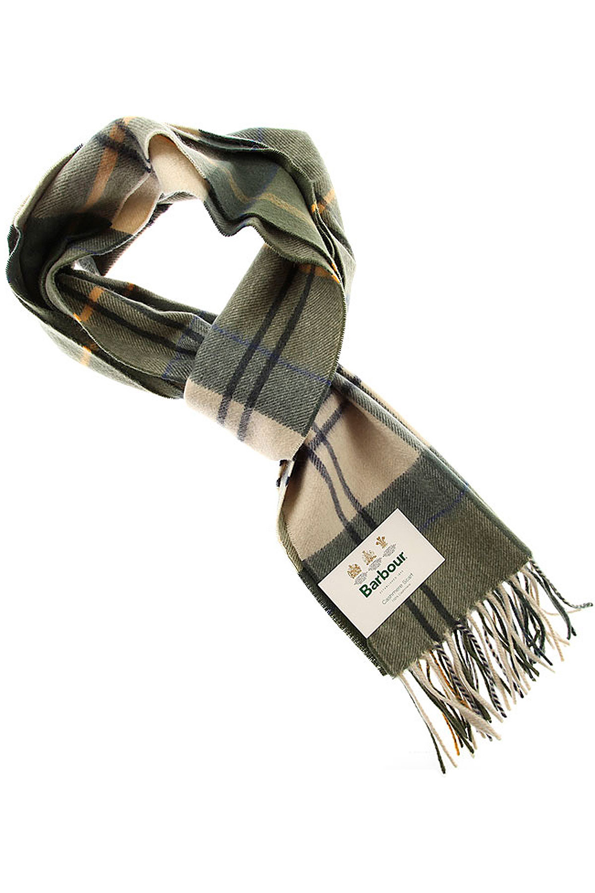 Image of Barbour Scarf for Men, Green, Cashmere, 2017