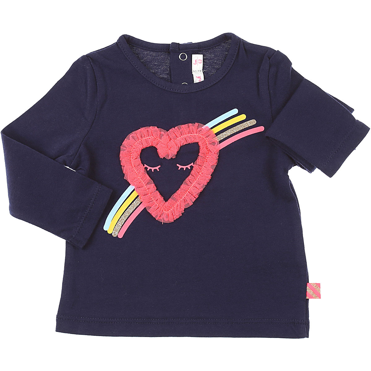 Billieblush Baby T-Shirt for Girls On Sale, Dark Midnight Blue, Cotton, 2019, 12M 2Y