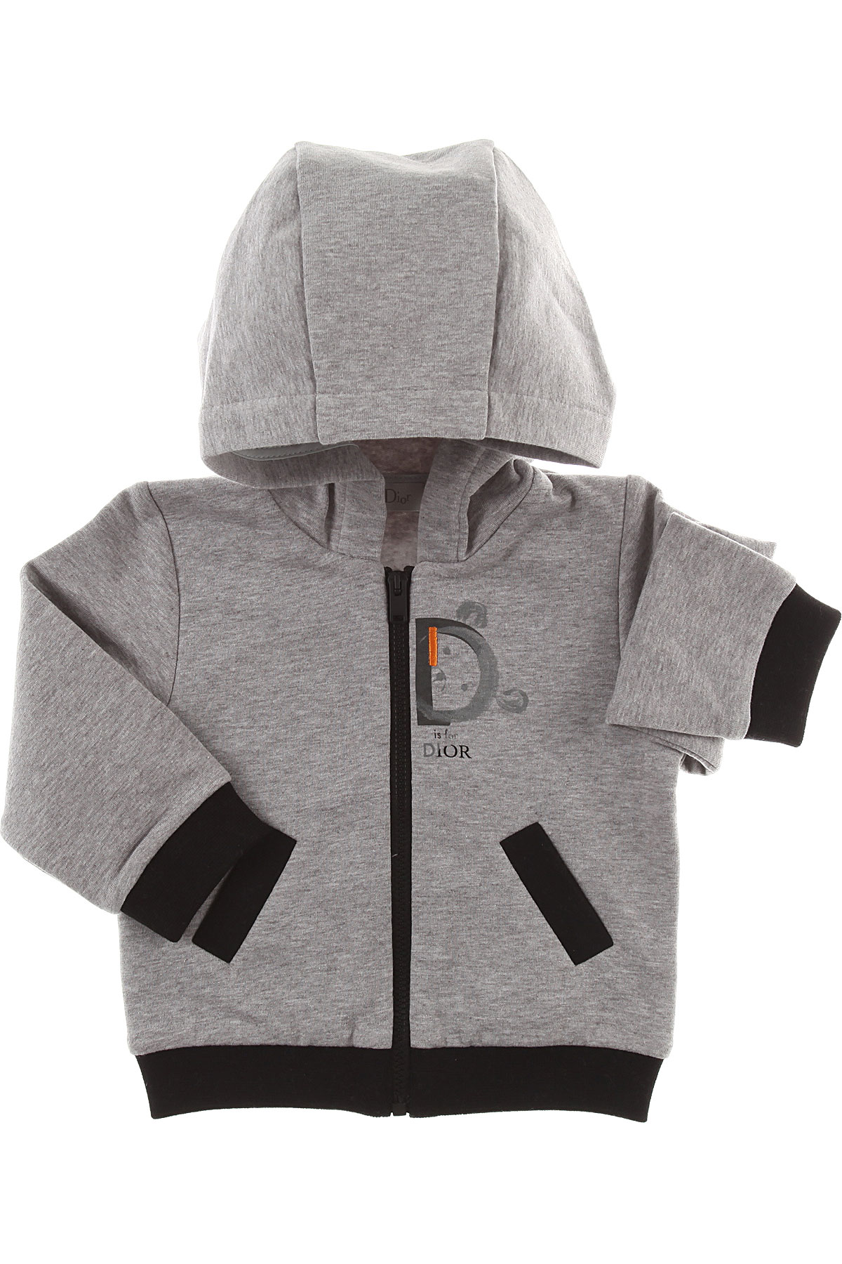 Image of Baby Dior Baby Sweatshirts & Hoodies for Boys, Grey Melange, Cotton, 2017, 12M 18M 2Y 3Y 6M 9M