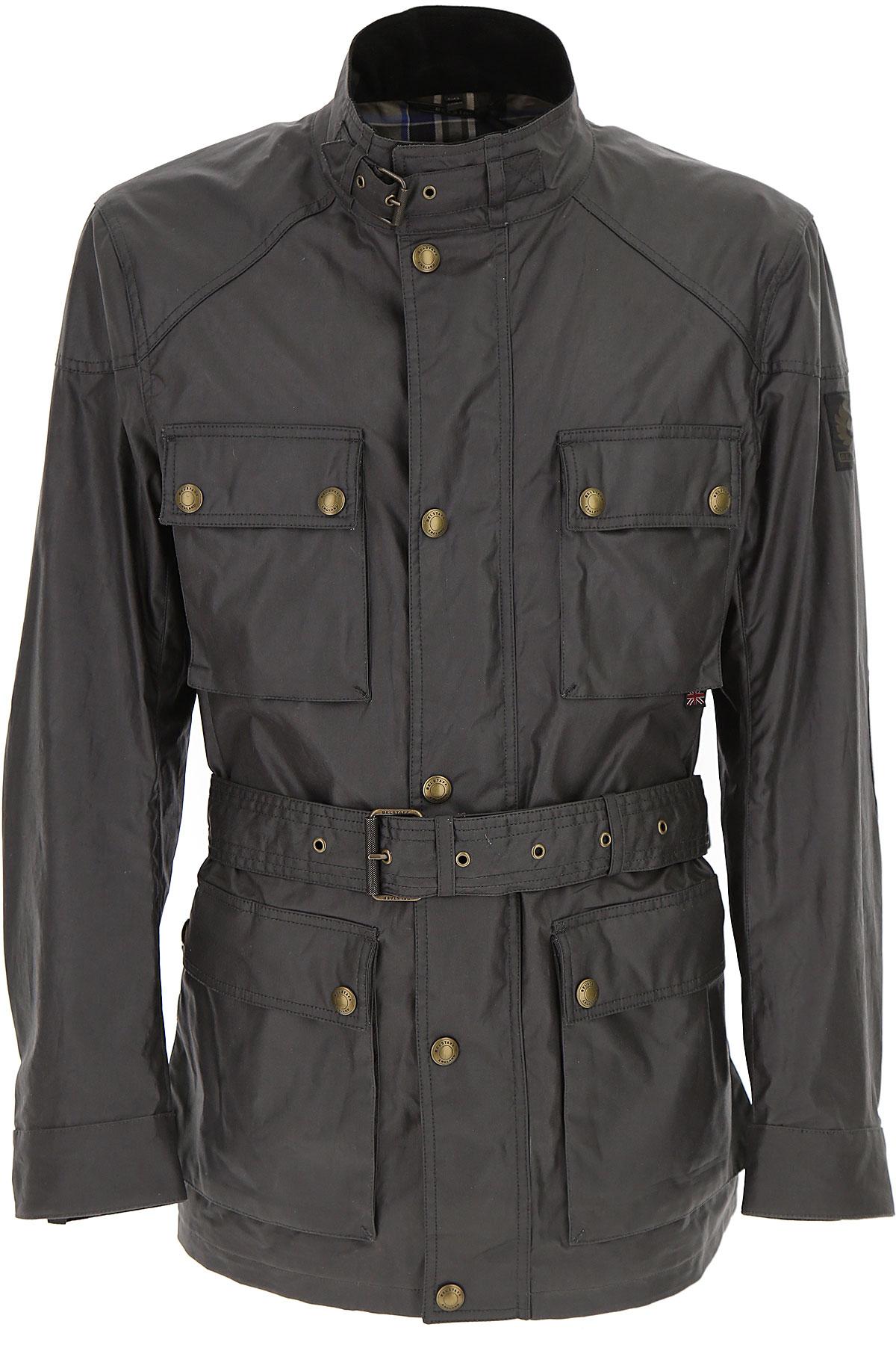 Image of Belstaff Men\'s Coat, Dark Anthracite Grey, polyester, 2017, L M XL XXL