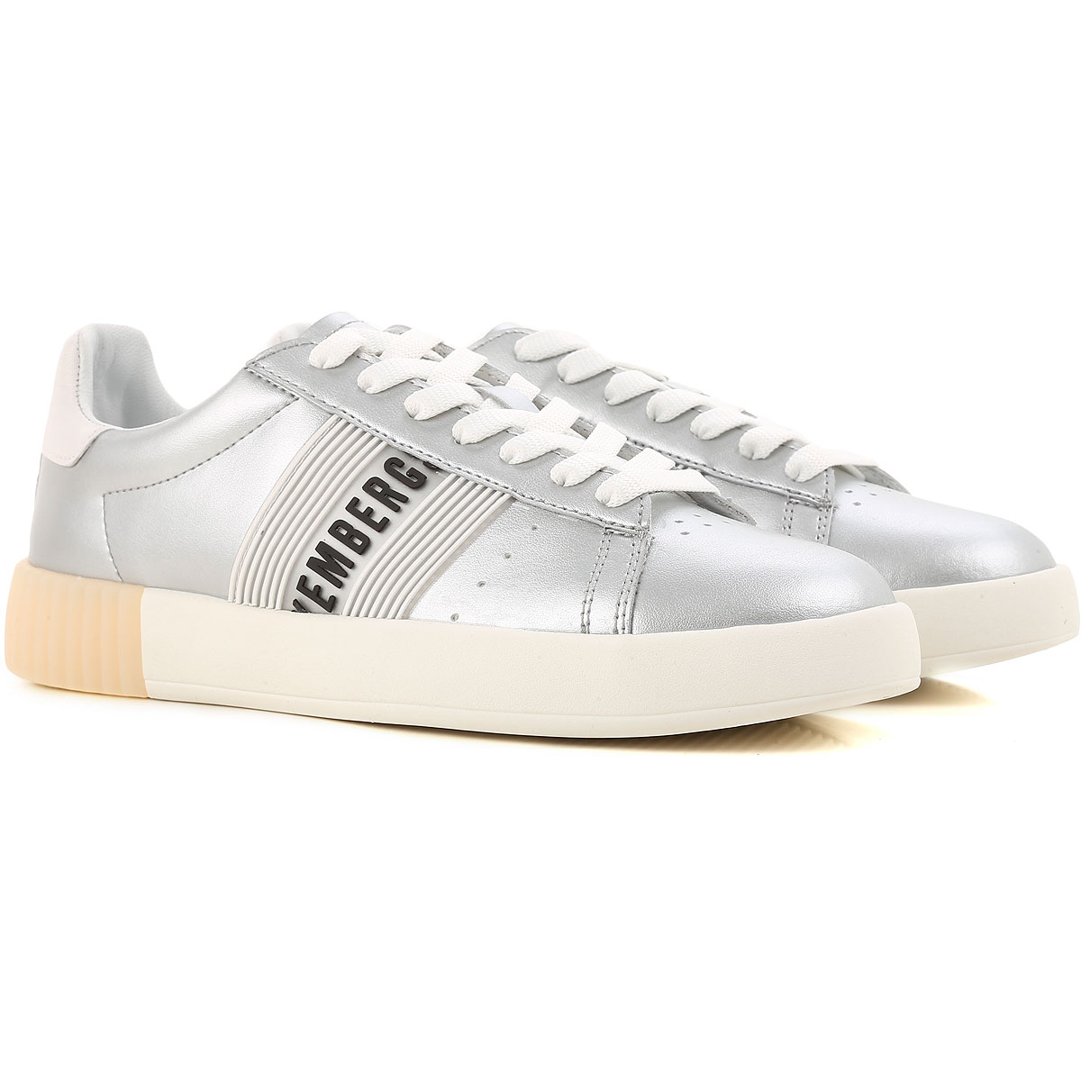 Dirk Bikkembergs Sneaker Femme Pas cher en Soldes, Argent, Cuir, 2017, 36 37 38 39 40
