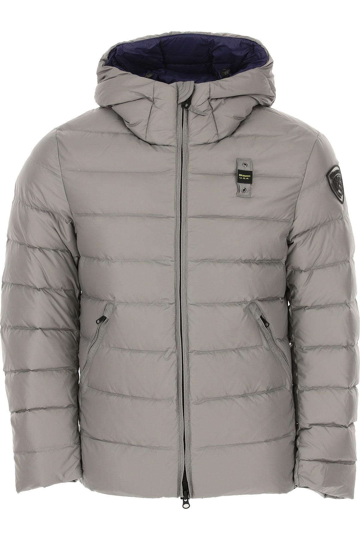 Blauer Down Jacket for Men, Puffer Ski Jacket On Sale, Light Grey, polyamide, 2019, L M S XL XXL