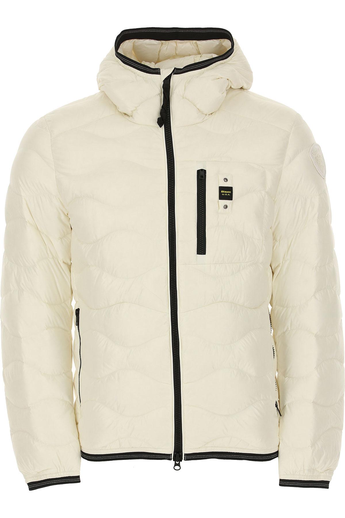 Blauer Down Jacket for Men, Puffer Ski Jacket On Sale, White, polyester, 2019, M XL