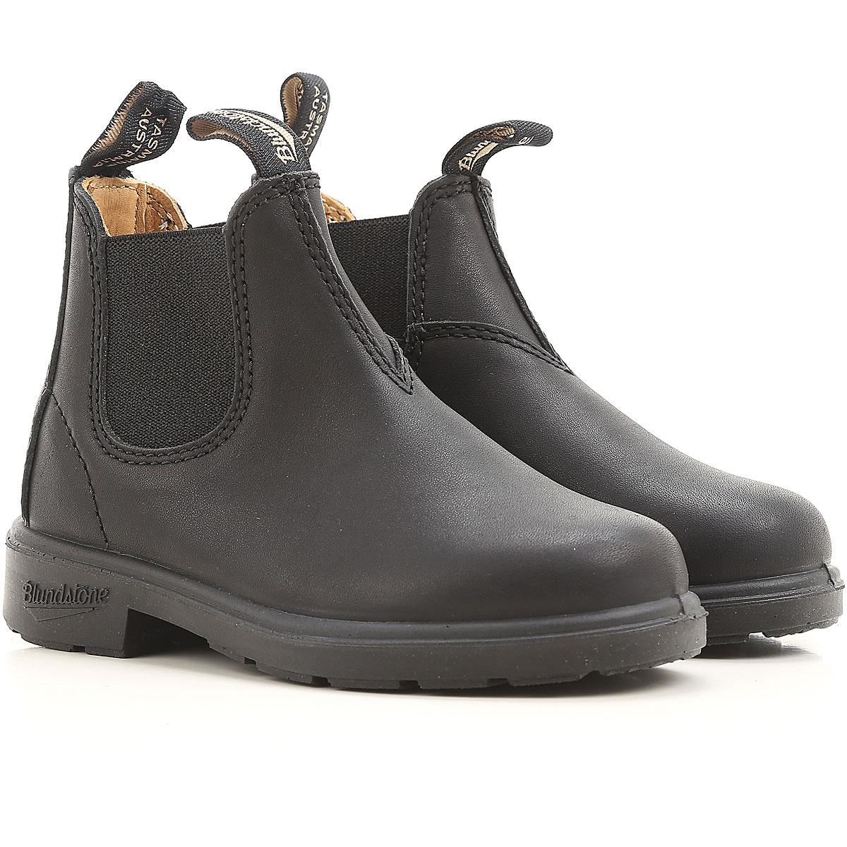 Image of Blundstone Kids Shoes for Boys, Black, Leather, 2017, UK 8 - US 8.5 - EU 25.5 UK 9 - US 9.5 - EU 26.5 UK 10 - US 10.5 - EU 28 UK 11 - UK 11.5 - EU 29 UK 12 - US 12.5 - EU 30.5 UK 13 - US 13.5 - EU 32