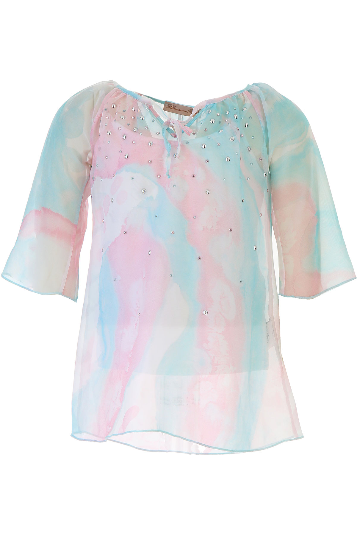Image of Blumarine Kids Shirts for Girls On Sale in Outlet, Sky Blue, viscosa, 2017, 4Y 5Y