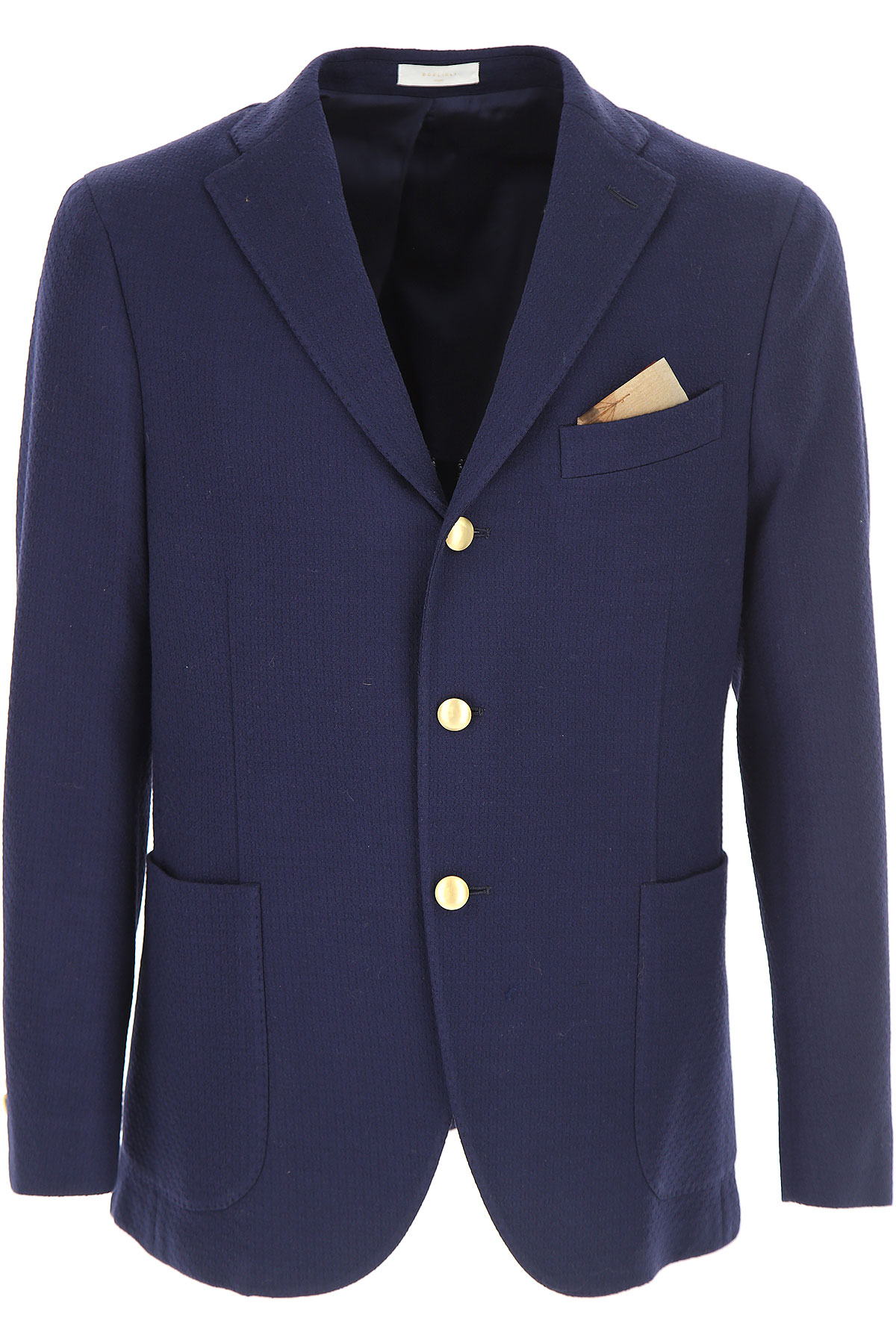 Boglioli Blazer Homme, Veste Sport, Bleu marine, Coton, 2017, L XL XXL