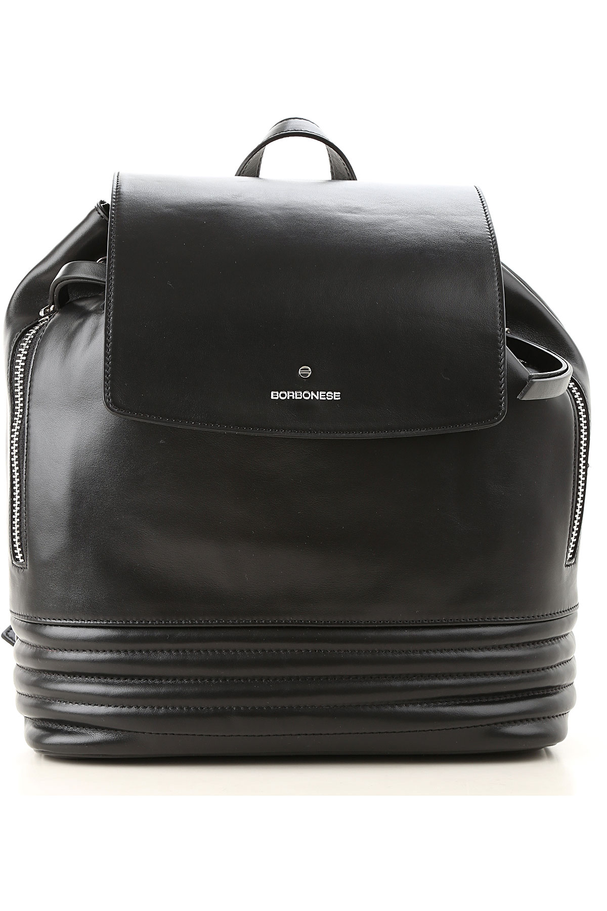 Borbonese Backpack for Women On Sale, Black, Leather, 2019