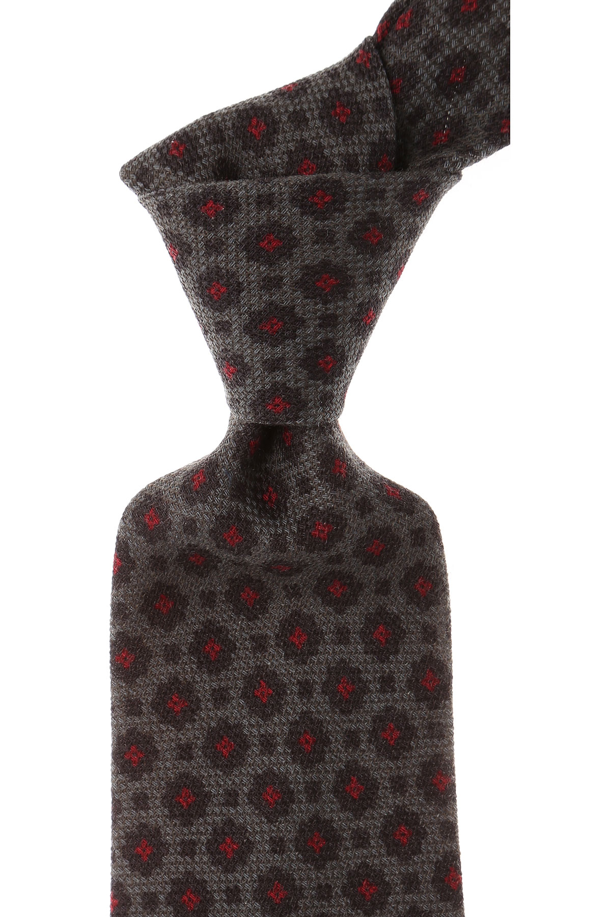 Borrelli Ties On Sale, Asphalt Grey Melange, Wool, 2019