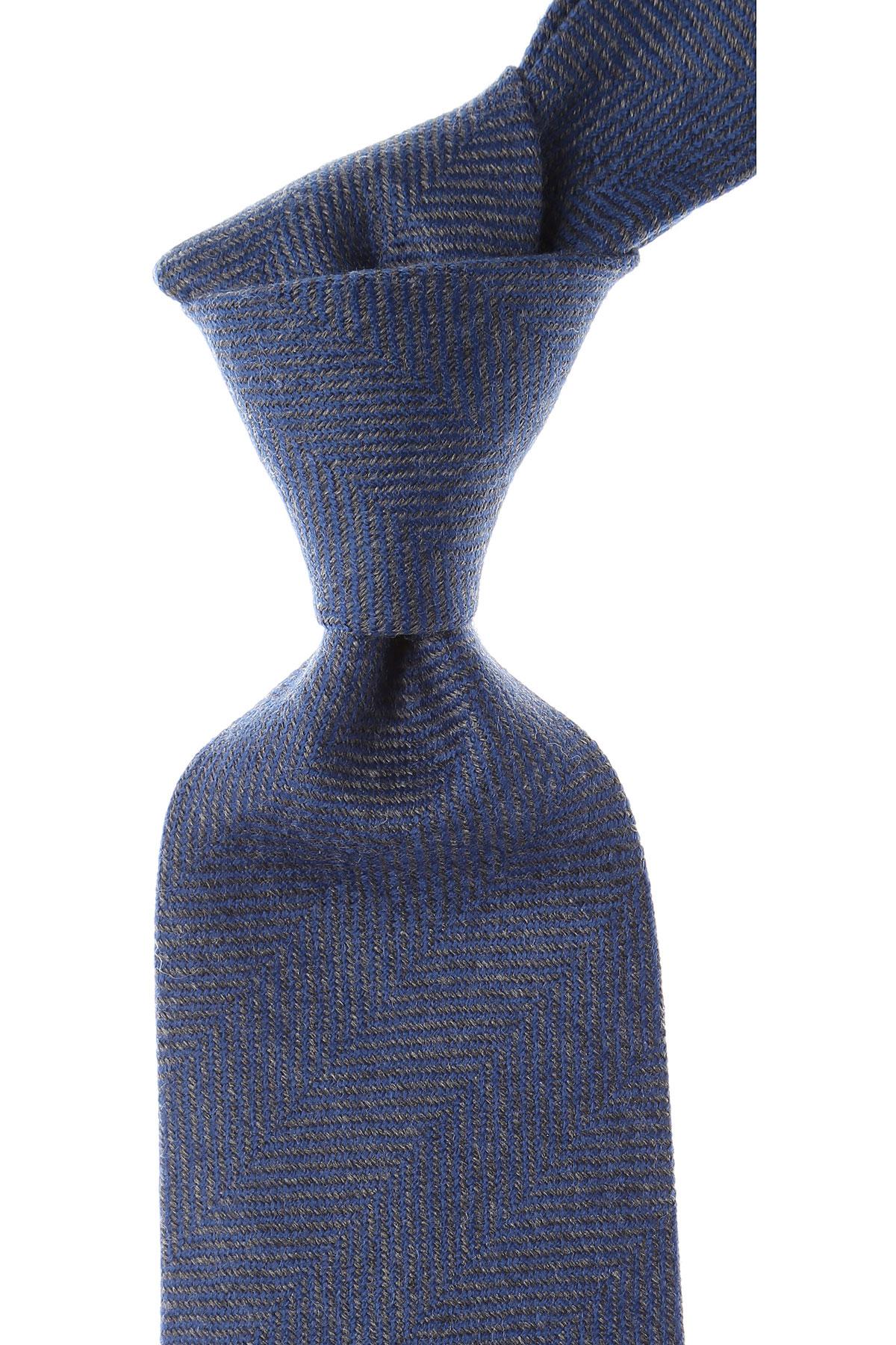 Cravates Borrelli Pas cher en Soldes, Mélange bleu royal, Laine, 2017