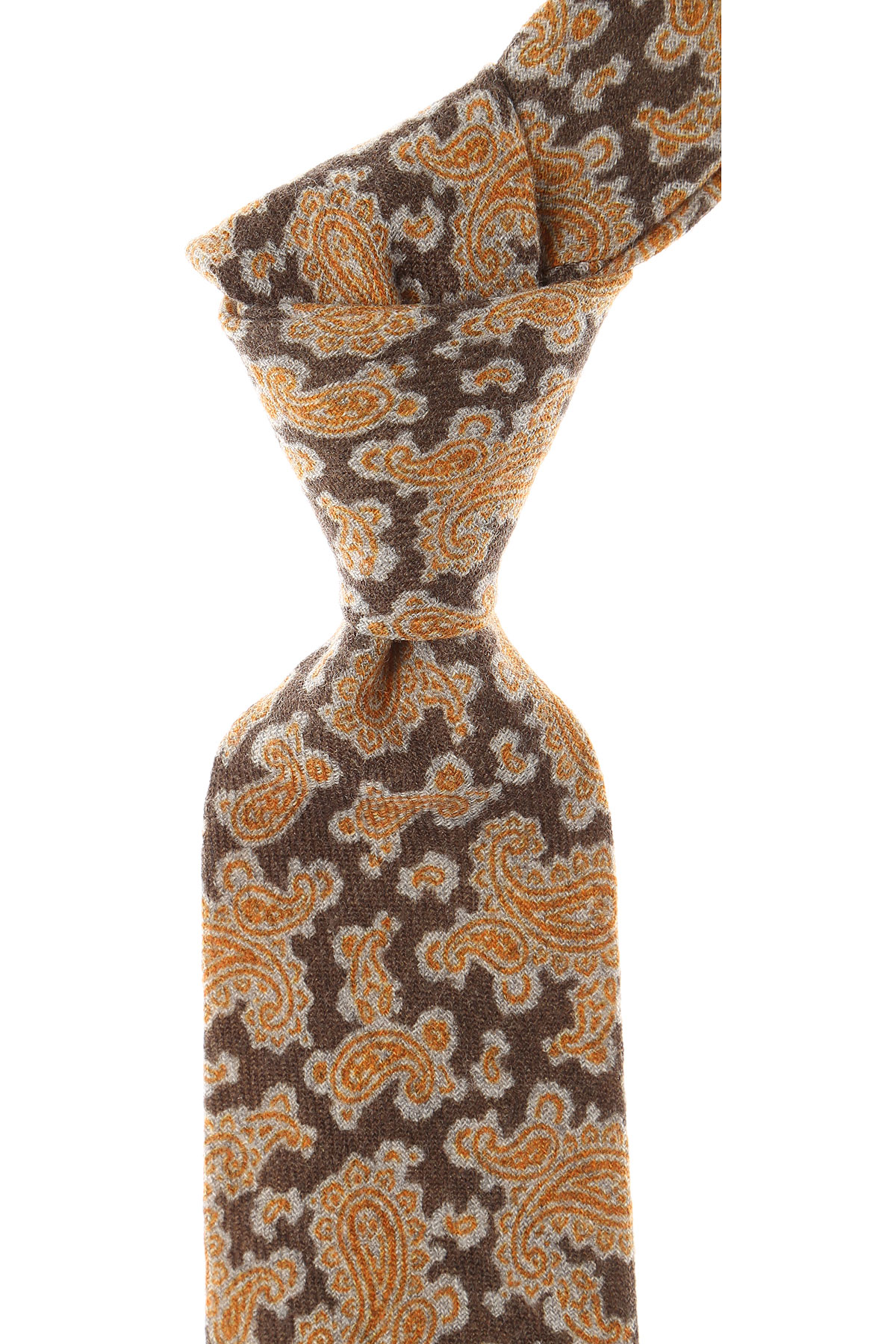 Borrelli Ties On Sale, Brown Melange, Wool, 2019