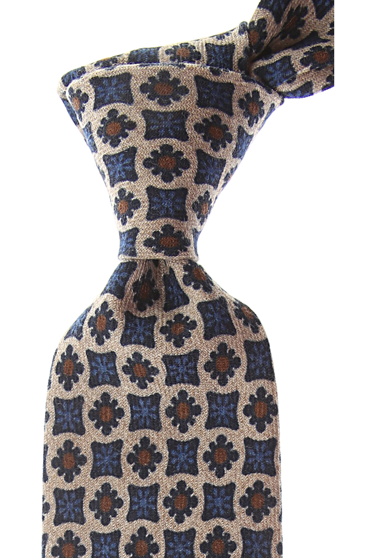 Borrelli Ties On Sale, beige melange, Wool, 2019