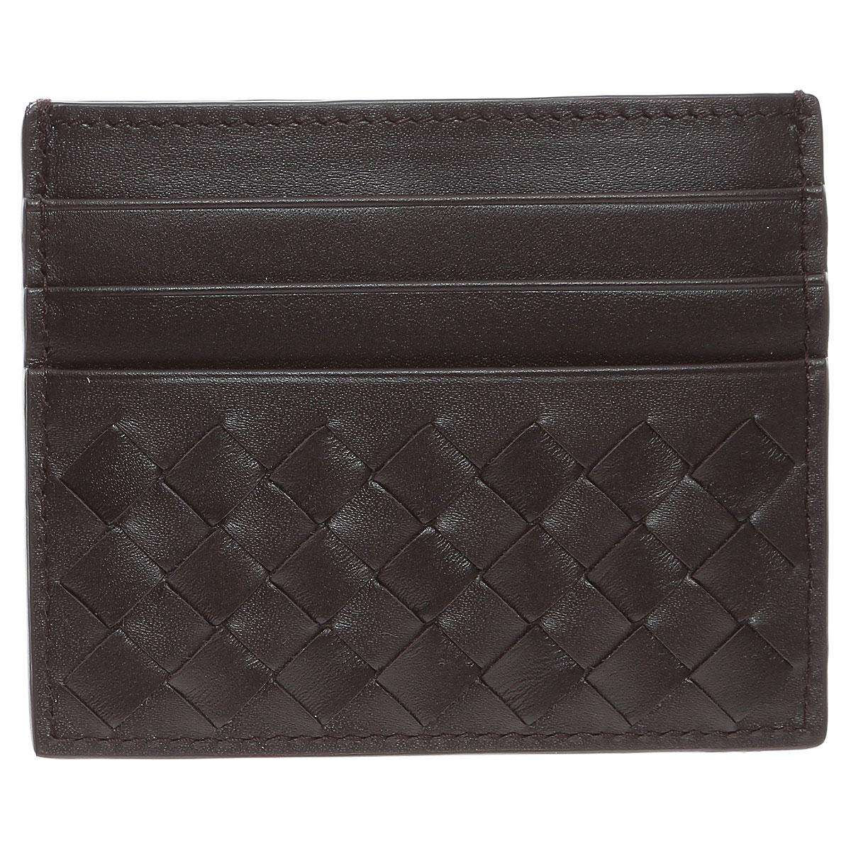 Image of Bottega Veneta Card Holder for Women, Espresso, Leather, 2017