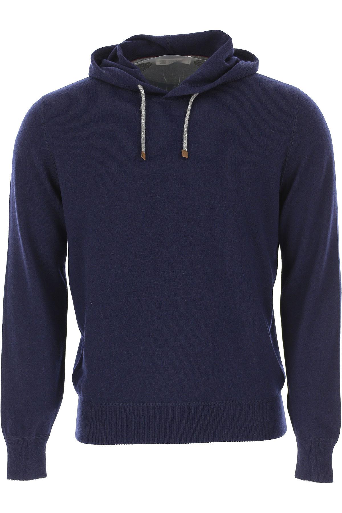 Brunello Cucinelli Sweater for Men Jumper On Sale, navy, Cashmere, 2019, L M