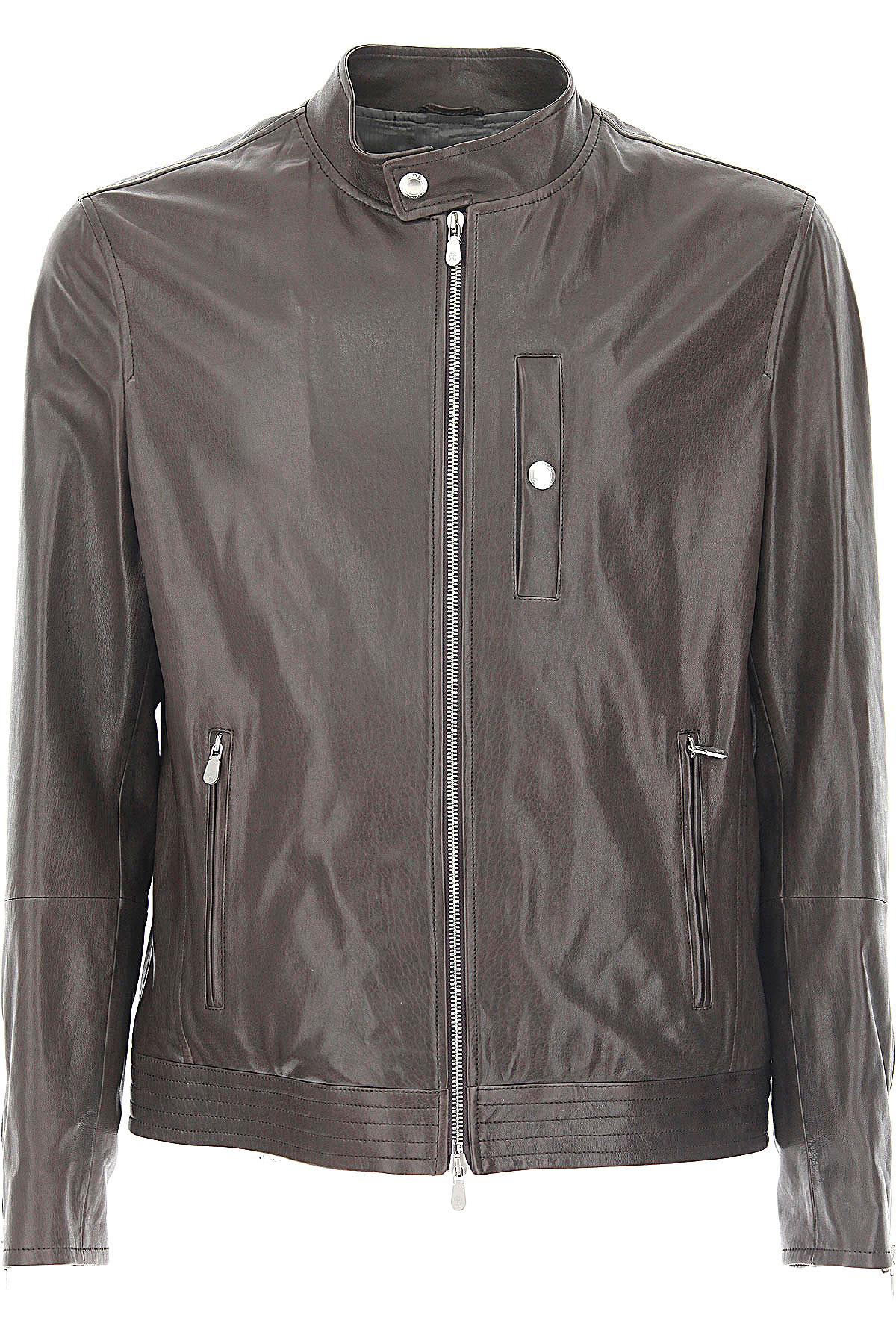 Image of Brunello Cucinelli Leather Jacket for Men On Sale, Ebony, Leather, 2017, M XL