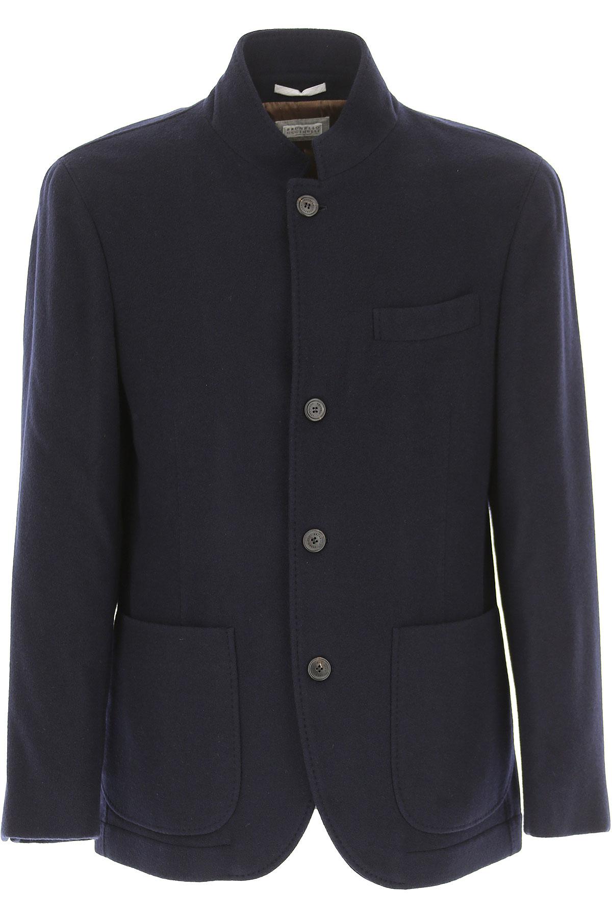 Image of Brunello Cucinelli Men\'s Coat, Navy Blue, Cashemere, 2017, L M S