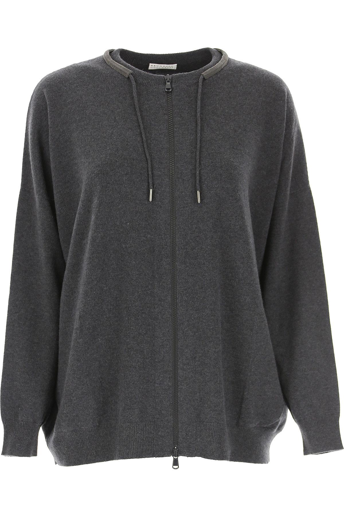 Brunello Cucinelli Sweater for Women Jumper On Sale, Dark Grey, Wool, 2019, 10 6 8