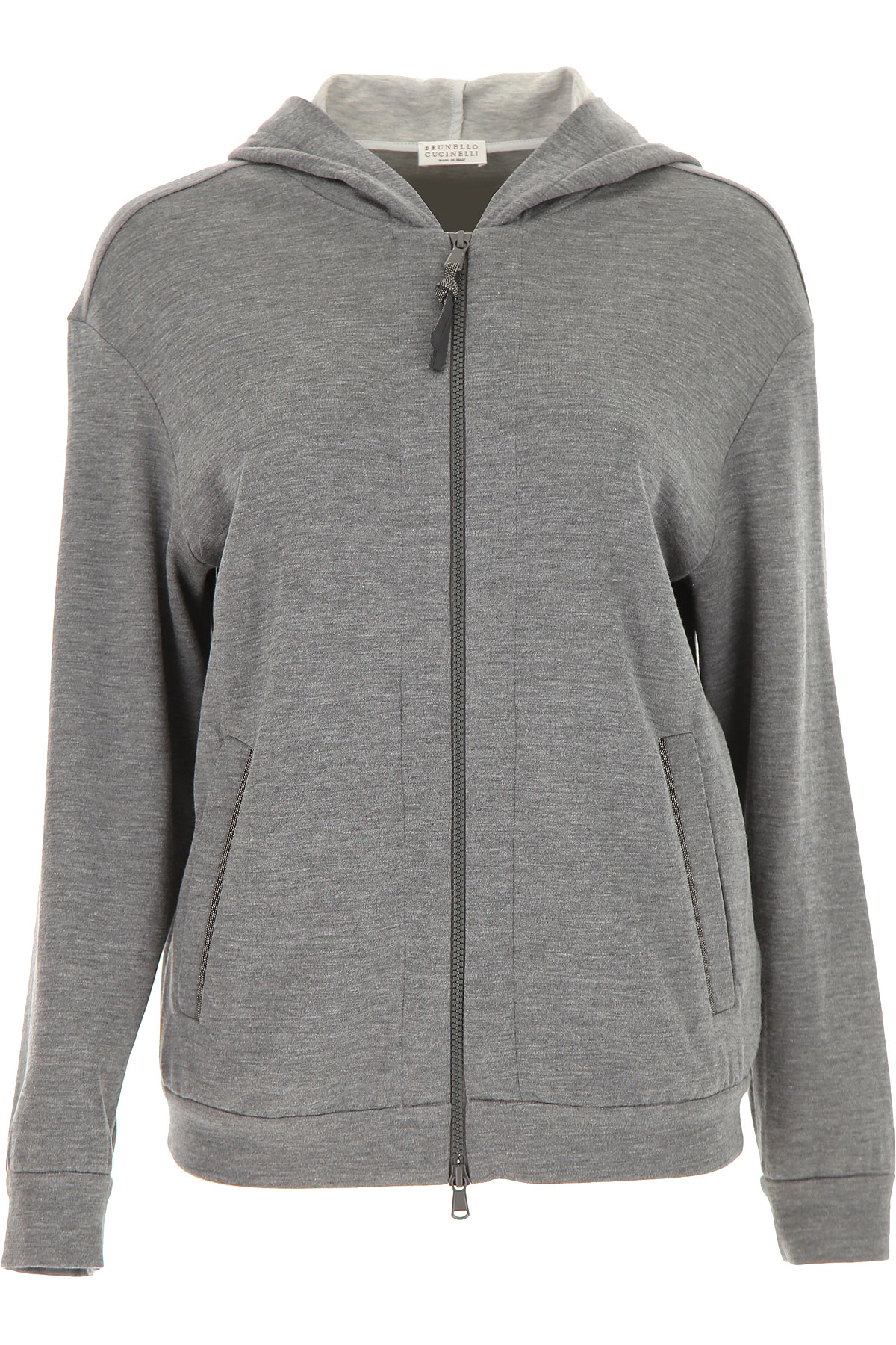 Brunello Cucinelli Sweatshirt for Women On Sale, Dark Grey, Cotton, 2019, 4 6