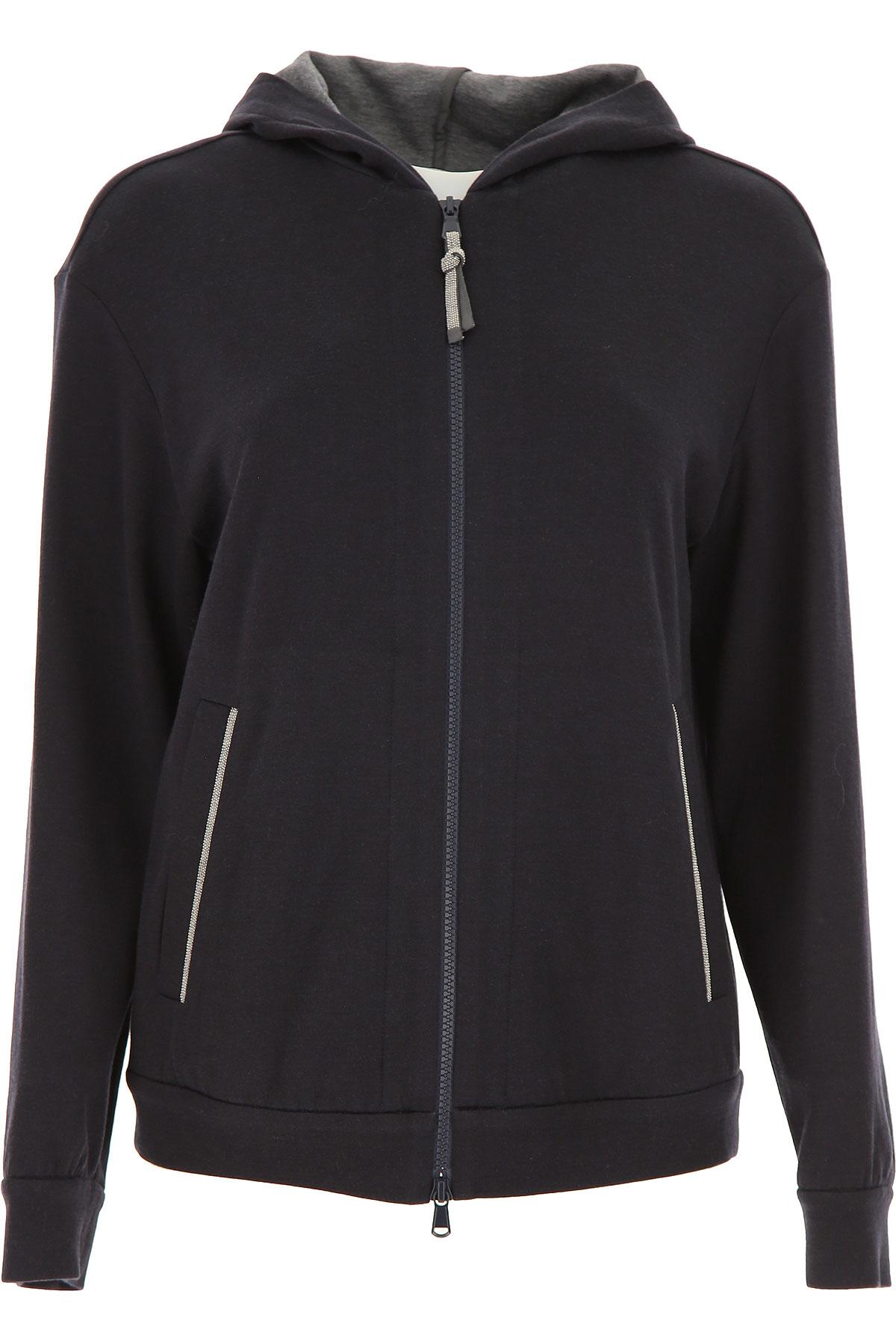 Brunello Cucinelli Sweatshirt for Women On Sale, Dark Blue, Cotton, 2019, 10 8