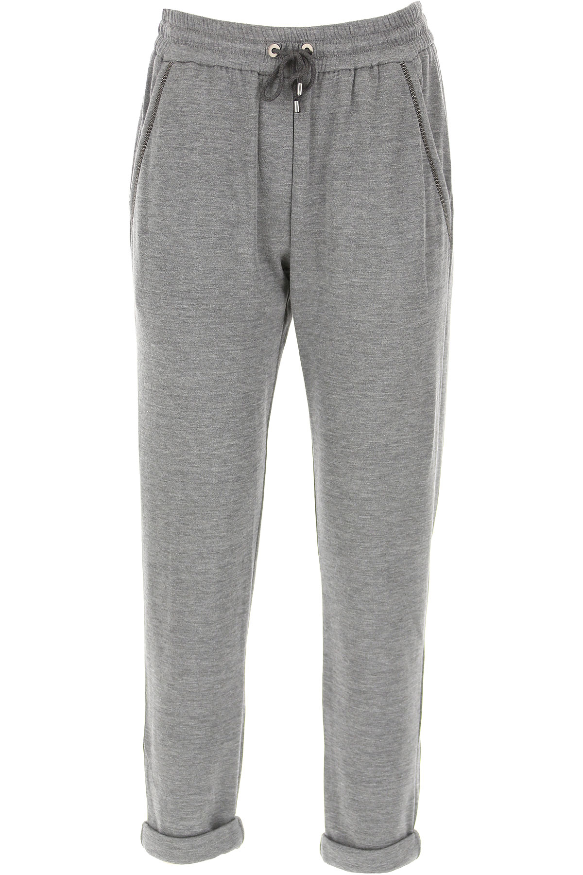 Brunello Cucinelli Pants for Women On Sale, Grey, Cotton, 2019, S (IT 40) L (IT 44 )