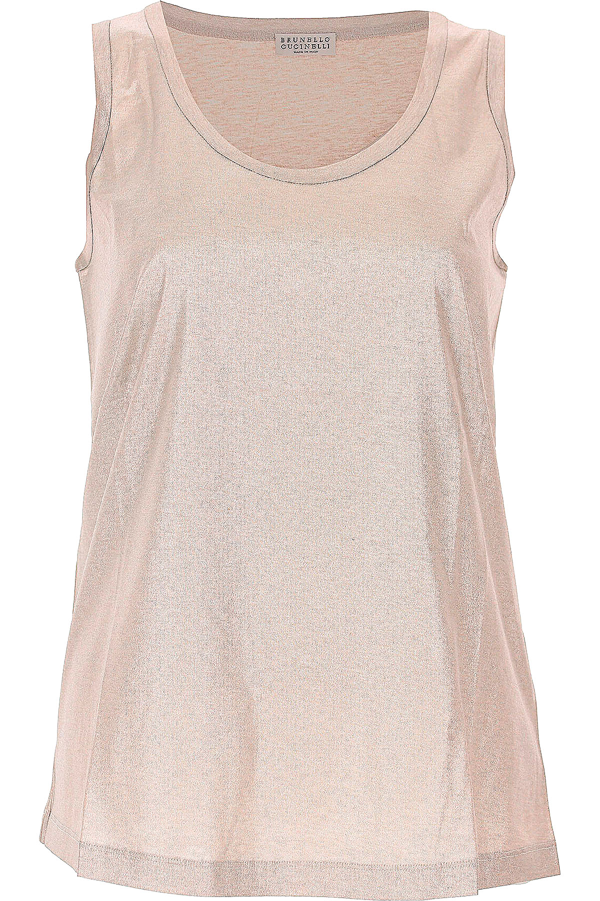Image of Brunello Cucinelli Tank Top for Women On Sale, Silver, Cotton, 2017, 4 6