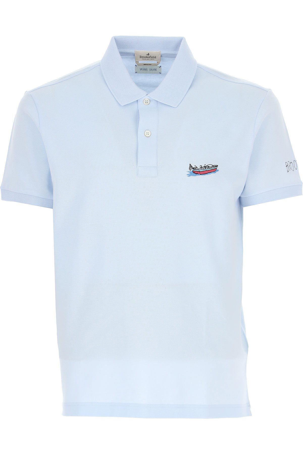 Brooksfield Polo Shirt for Men On Sale, Light Blue, Cotton, 2019, L M XL XXL