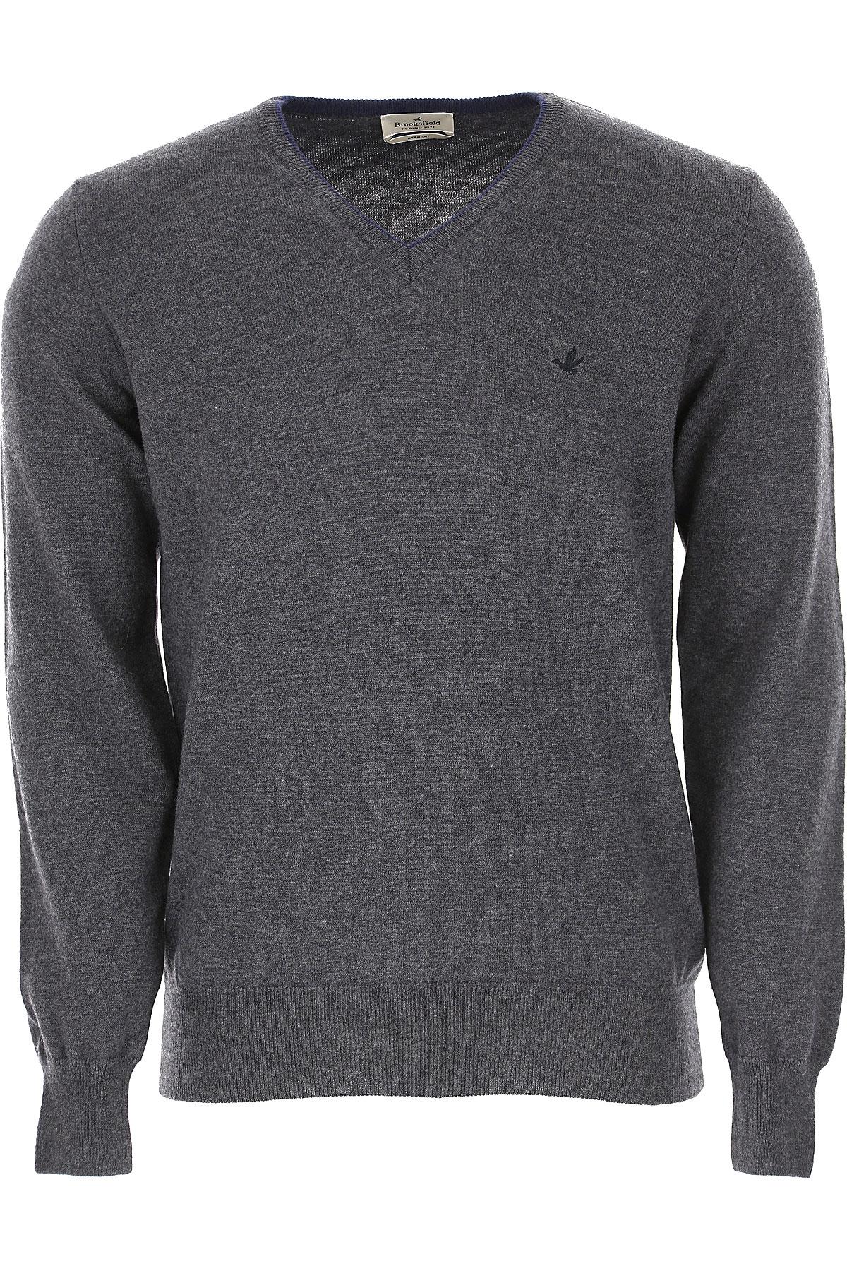 Brooksfield Sweater for Men Jumper On Sale, Anthracite Grey, Virgin wool, 2019, L M XXL XXXL