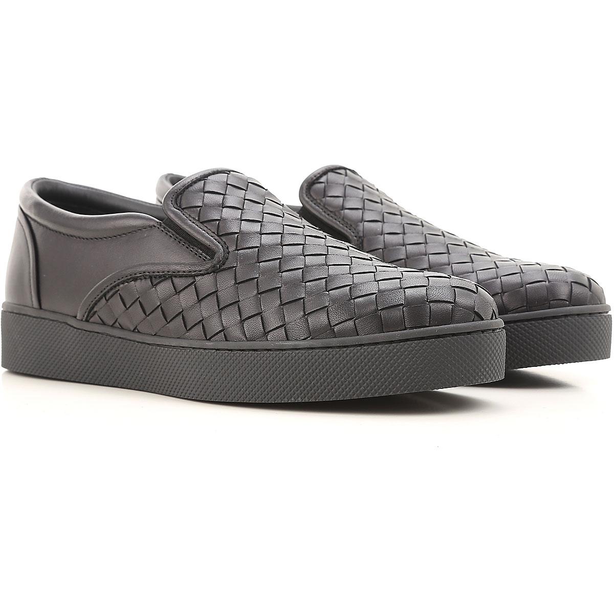 Image of Bottega Veneta Slip on Sneakers for Women On Sale, Black, Leather, 2017, 10 5 6 6.5 7 8