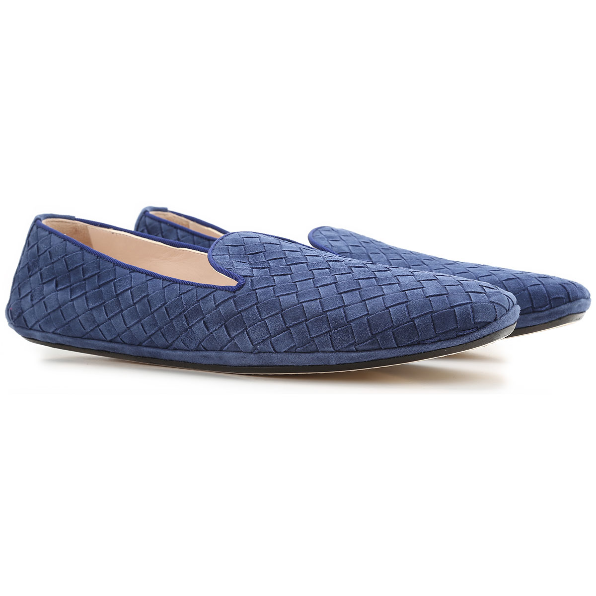 Image of Bottega Veneta Slip on Sneakers for Women On Sale, Pacific Blue, suede, 2017, 8 8.5 9.5