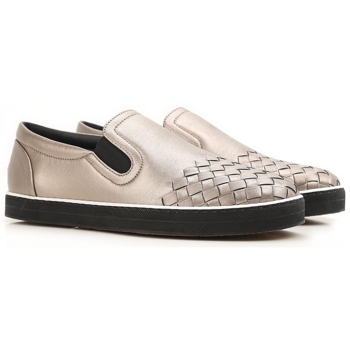 Image of Bottega Veneta Slip on Sneakers for Women On Sale, Ruthenium, Leather, 2017, 10 6.5 7 8.5