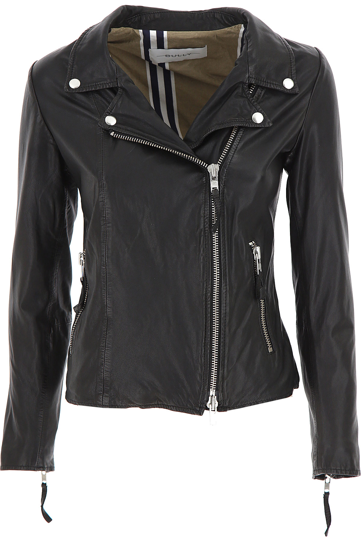 Bully Leather Jacket for Women On Sale, Black, Leather, 2019, 10 12 6 8