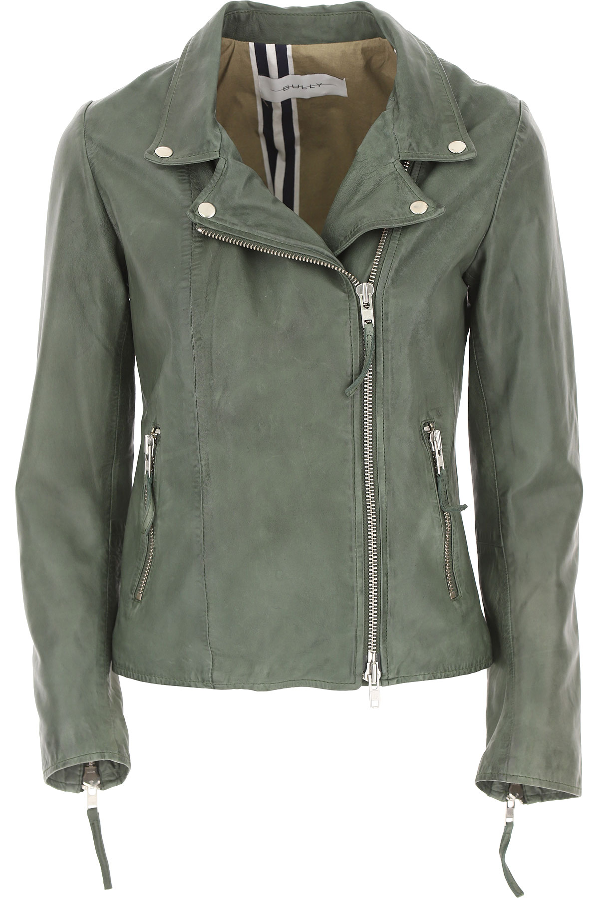 Bully Leather Jacket for Women On Sale, Green, Leather, 2019, 10 6 8