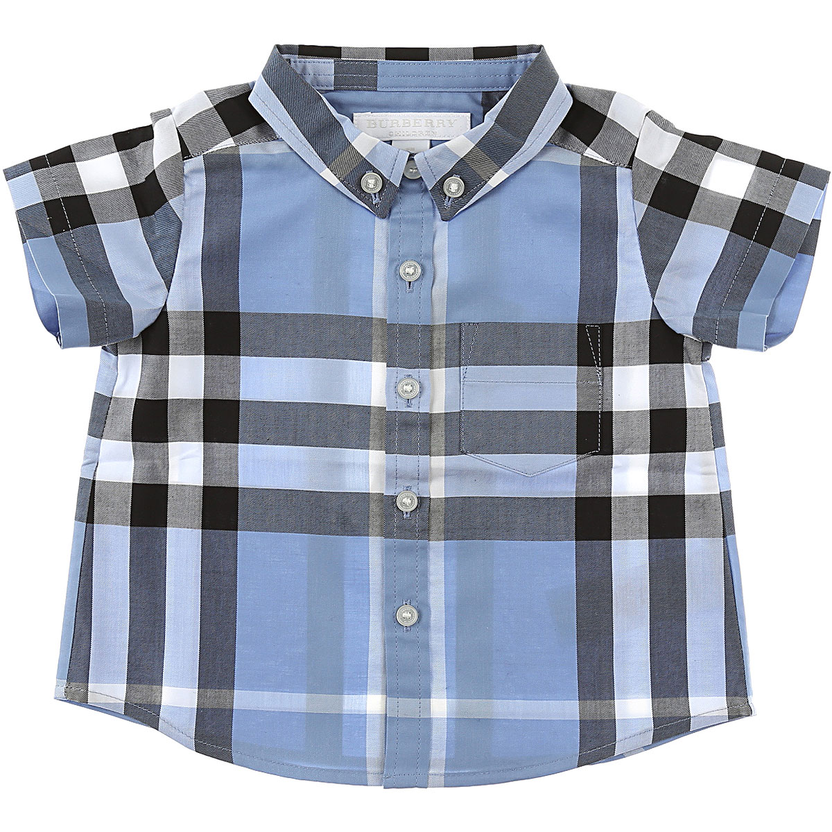 Image of Burberry Baby Shirts for Boys On Sale in Outlet, Light Blue, Cotton, 2017, 18M 6M 9M