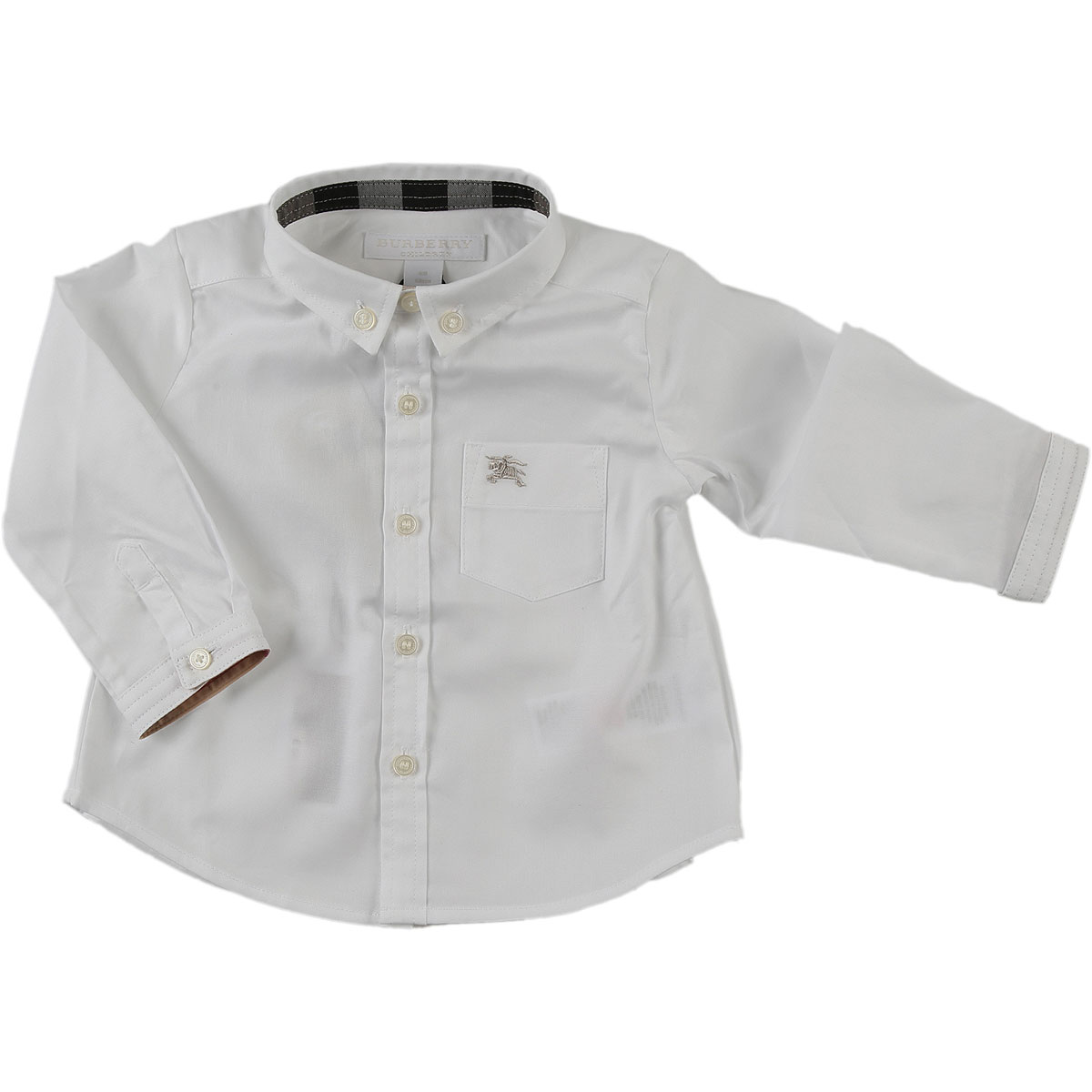 Image of Burberry Baby Shirts for Boys, White, Cotton, 2017, 12M 18M 2Y 3Y 6M 9M