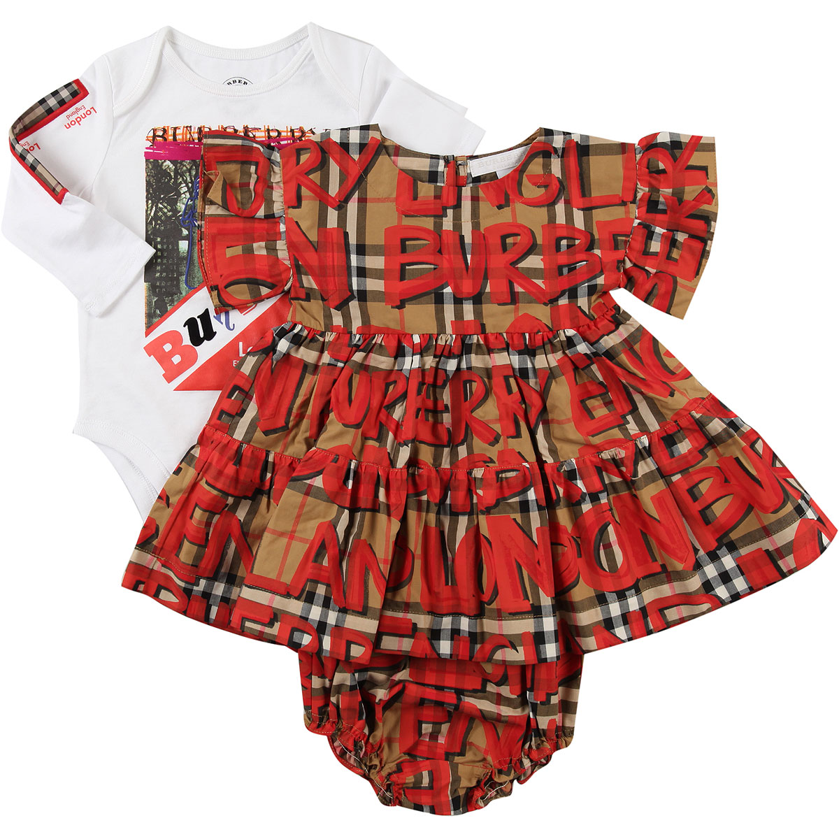 Image of Burberry Baby Sets for Girls, Brown, Cotton, 2017, 12M 18M 6M 9M
