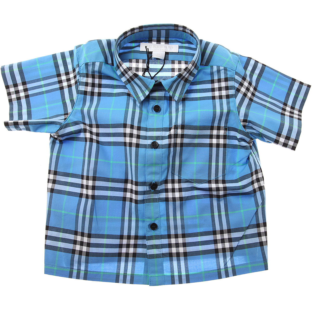 Image of Burberry Baby Shirts for Boys, Azure Blue, Cotton, 2017, 12M 18M 2Y 3Y 6M