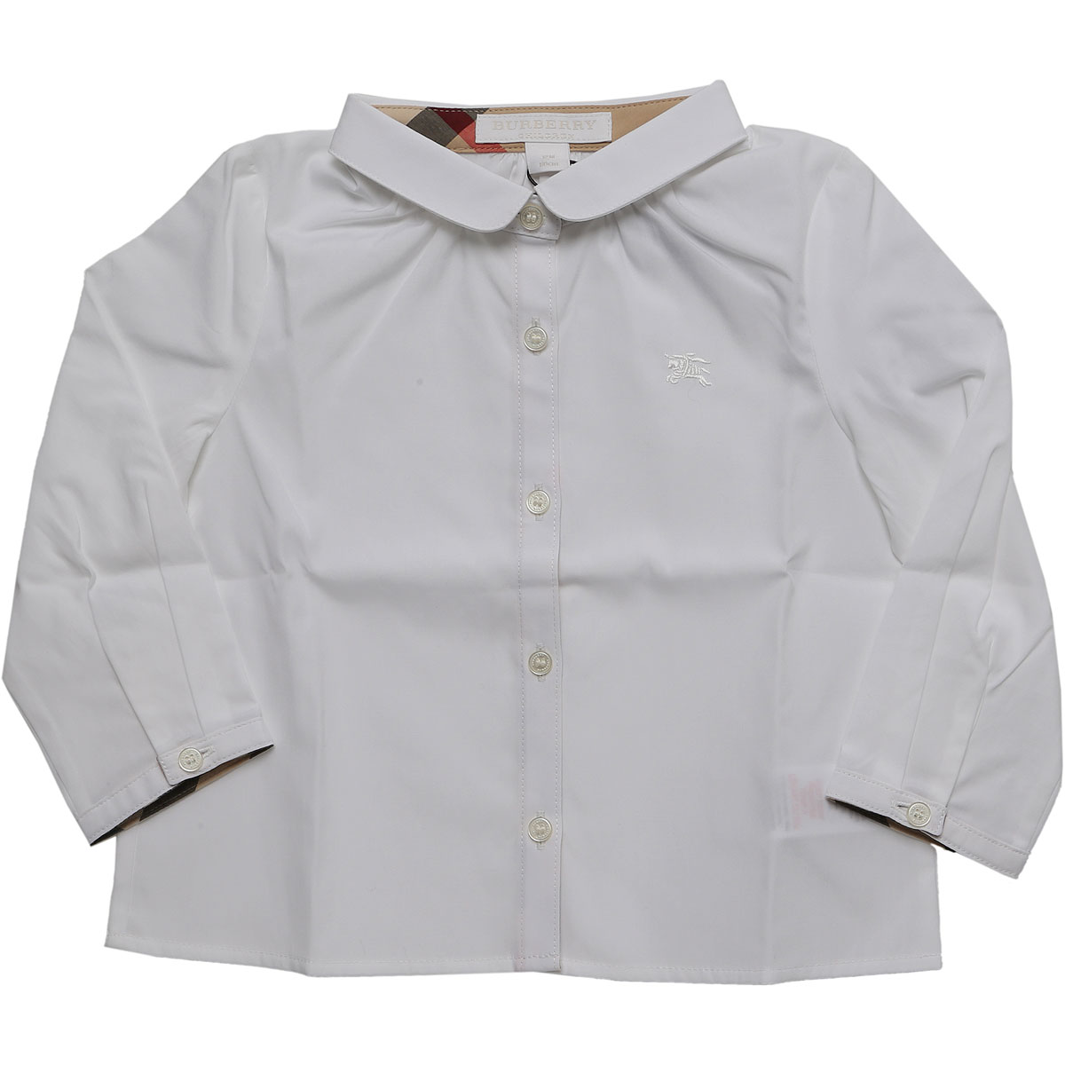 Image of Burberry Baby Shirts for Girls, White, Cotton, 2017, 12M 18M 2Y 3Y 6M 9M