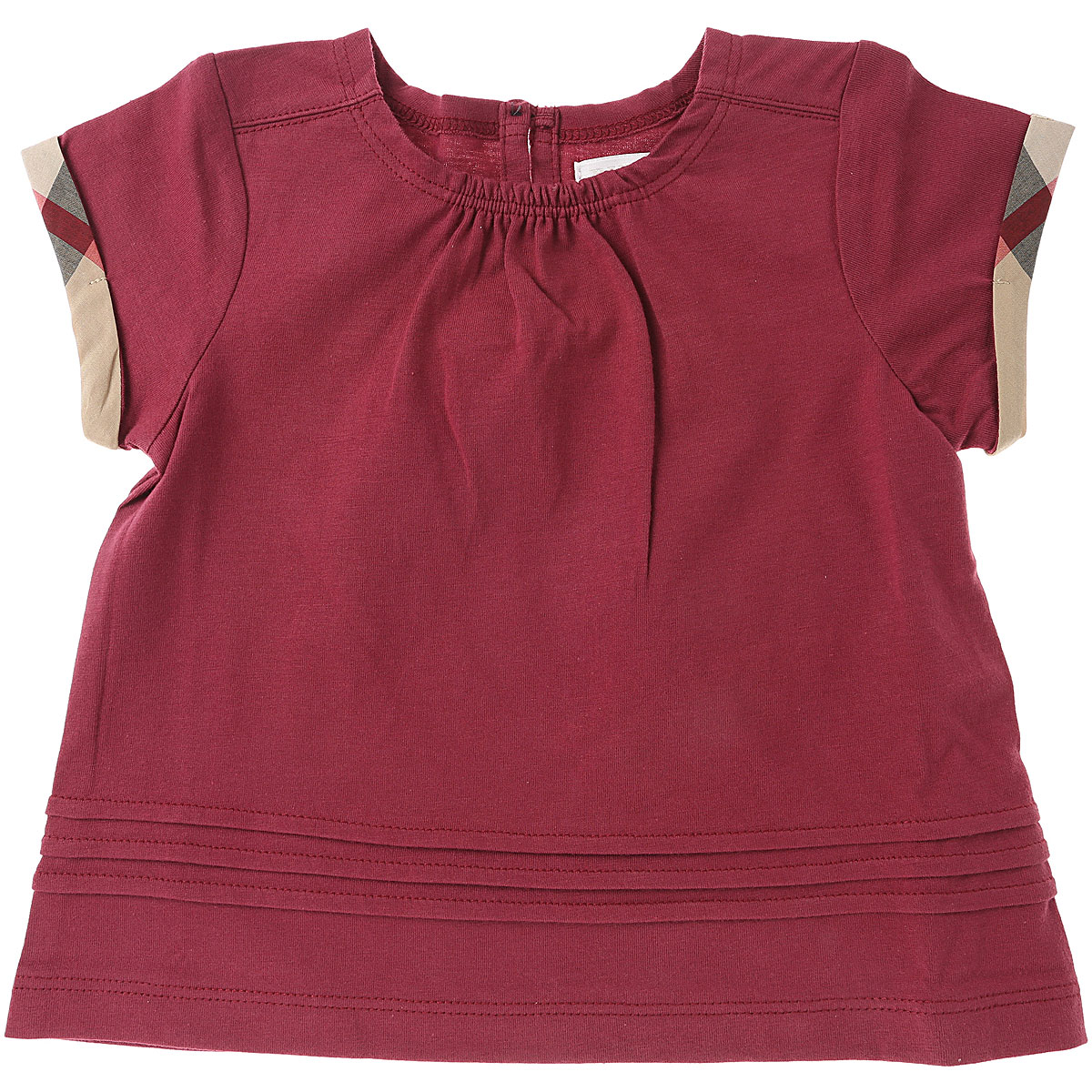 Image of Burberry Baby T-Shirt for Girls, Garnet Pink, Cotton, 2017, 12M 18M 2Y 6M 9M